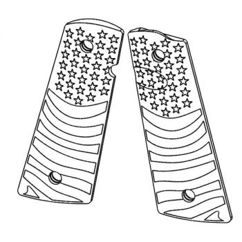 1911 PX™-10 Standard Size -  Pistol Grips (Flag Pattern, Semi-Gloss Black)