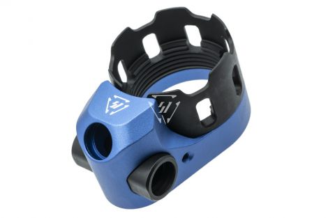 Tribus Enhanced Castle Nut & Extended End Plate Version 2 in Blue