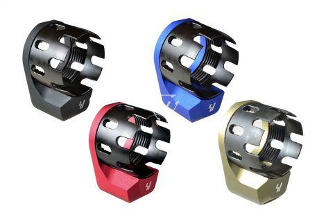 AR Enhanced Castle Nut & Extended End Plate in Black, Red, Blue, FDE