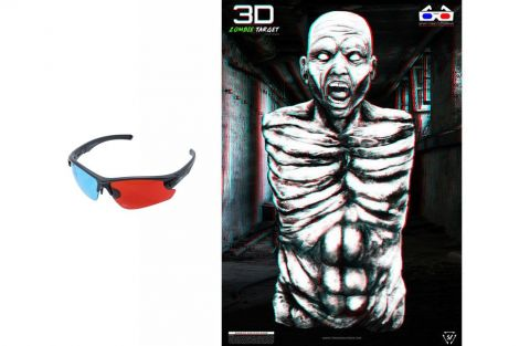 "BUNDLE: 3D Zombie Target (5PK) and A7 ""Outlaw"" Eye Protection w/ Custom 3D Lenses"